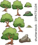 Cartoon Forest Trees  Bushes ...