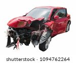 red car crash isolated. | Shutterstock . vector #1094762264