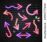 arrow neon sign | Shutterstock .eps vector #1094777654