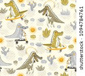 cute crocodile seamless pattern.... | Shutterstock .eps vector #1094784761