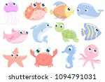 cute sea animals. flat design. | Shutterstock .eps vector #1094791031