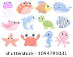 cute sea animals. flat design. | Shutterstock .eps vector #1094791031