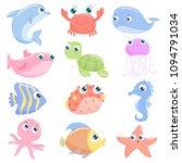 cute sea animals. flat design. | Shutterstock .eps vector #1094791034