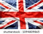 closeup of union jack flag  | Shutterstock . vector #1094809865