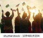 group of people holding... | Shutterstock . vector #1094819204