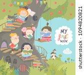 happy children reading books in ... | Shutterstock .eps vector #1094820821
