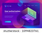 login password on laptop screen.... | Shutterstock .eps vector #1094823761