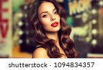 beautiful girl with long curly ... | Shutterstock . vector #1094834357