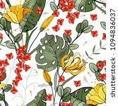 retro wild seamless flower... | Shutterstock .eps vector #1094836037