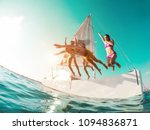 happy crazy friends diving from ... | Shutterstock . vector #1094836871