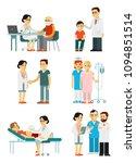 set of doctors and patients in... | Shutterstock .eps vector #1094851514