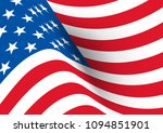 Usa Flag. Vector Realistic Wav...
