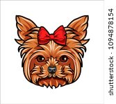 yorkshire terrier. bow icon.... | Shutterstock .eps vector #1094878154