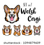 welsh corgi dog set. horns... | Shutterstock .eps vector #1094879609
