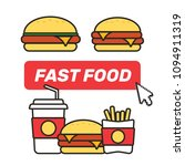 fast food snacks and drinks... | Shutterstock .eps vector #1094911319