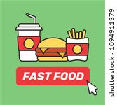 fast food snacks and drinks.... | Shutterstock .eps vector #1094911379