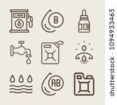 set of 9 drop outline icons...   Shutterstock .eps vector #1094933465