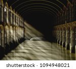 3d Rendering Dark Hall Scene I...