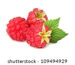 Raspberry with leaf - stock photo