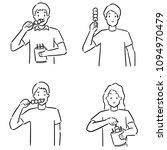 vector of man eating meatball | Shutterstock .eps vector #1094970479