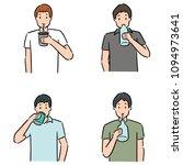 vector set of man drinking | Shutterstock .eps vector #1094973641