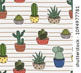 cute cactus seamless pattern | Shutterstock .eps vector #1094977781