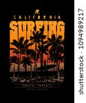 surfing california palm beach... | Shutterstock .eps vector #1094989217