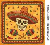 mexican sugar skull cartoon.... | Shutterstock .eps vector #109499081