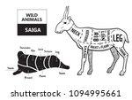 cut of antelope set. poster...   Shutterstock .eps vector #1094995661