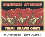 barbers attack poster.... | Shutterstock .eps vector #1095002564