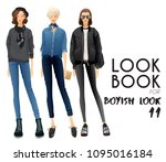 body template with outfits and...   Shutterstock .eps vector #1095016184