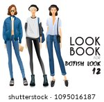 body template with outfits and...   Shutterstock .eps vector #1095016187