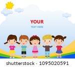 group of children hand in hand  | Shutterstock .eps vector #1095020591
