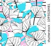 tropical  modern stripes motif. ... | Shutterstock .eps vector #1095028481