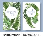vector tropical leaves banners... | Shutterstock .eps vector #1095030011