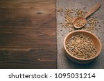 malt grains in wooden bowl with ... | Shutterstock . vector #1095031214