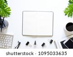 above workspace with notebook...   Shutterstock . vector #1095033635