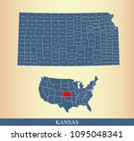 kansas county map with names.... | Shutterstock .eps vector #1095048341