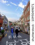 Small photo of BUSAN,SOUTH KOREA NOVEMBER 2,2017: Gamcheon Culture Village .The area is known for its brightly painted houses, which have been restored and enhanced in recent years to attract tourism