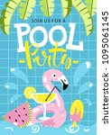 pool party invitation. flamingo ...   Shutterstock .eps vector #1095061145