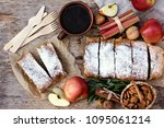strudel with apples and... | Shutterstock . vector #1095061214