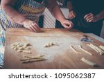 pasta making process step by... | Shutterstock . vector #1095062387