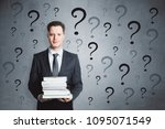 thoughtful businessman with... | Shutterstock . vector #1095071549
