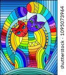 illustration in stained glass... | Shutterstock .eps vector #1095073964