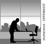 a elderly business man signs a... | Shutterstock .eps vector #1095086525