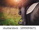 closeup of a woman in riding... | Shutterstock . vector #1095093671
