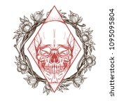 skull contour sketch for tattoo ... | Shutterstock .eps vector #1095095804