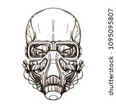 skull contour sketch for tattoo ... | Shutterstock .eps vector #1095095807