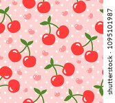 cherry pattern  cute heart... | Shutterstock .eps vector #1095101987