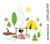 campsite concept. minimal flat... | Shutterstock .eps vector #1095106709